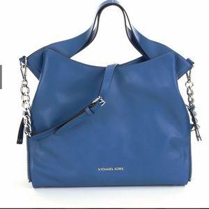 Michael Kors DEVON Leather Large Shoulder Bag Tote Satchel Chain Strap Hobo Sack